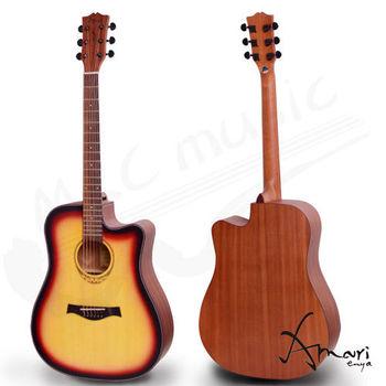 Amari 41吋 雲杉木面板 缺角民謠吉他-漸層(418C-SB)加贈超值五寶
