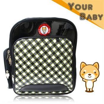 【YOUR BABY優寶貝】超Q柴犬格紋造型 台灣製輕量護脊書包-黑色