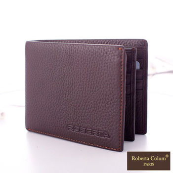 Roberta Colum - 法國荔枝紋軟牛皮實用3層式鈔票夾短夾-共2色