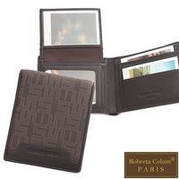 Roberta Colum - 雅痞幾何系真皮款8卡1照左右翻直式短夾
