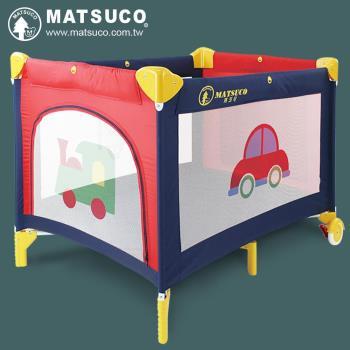 【瑪芝可Matsuco】多功能平邊收折遊戲床(PY840-紅藍車車) 附:蚊帳/床墊/收納袋