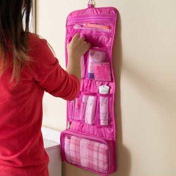 【iSFun】旅行專用*網狀摺疊盥洗包/桃