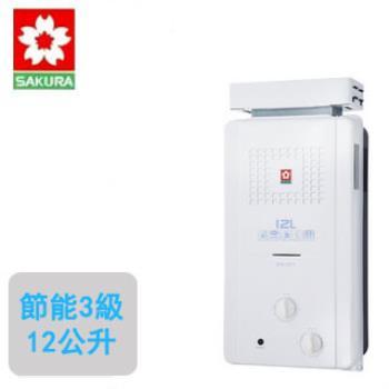 櫻花牌 GH-1221--ABS防空燒無氧銅--12公升屋外抗風型熱水器(天然瓦斯)