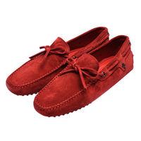 TOD'S 聯名FERRARI GOMMINO MOCASSINO系列麂皮綁帶手工豆豆鞋(暗紅)