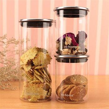 Artist精選 耐熱玻璃不鏽鋼蓋密封罐3入組(950ml*1+500ml*2)
