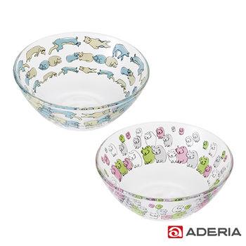【ADERIA】日本進口Instyle貓咪玻璃套碗組