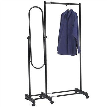 活動式伸縮吊衣架+穿衣鏡架(可調整角度)