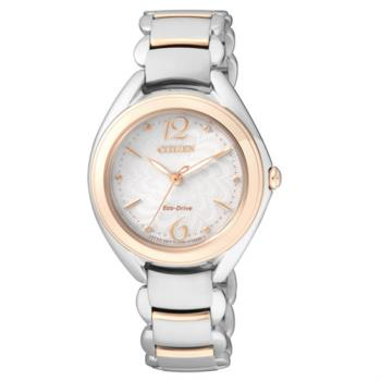 【CITIZEN星辰】Eco-Drive光動能 花漾風華優雅時尚腕錶-金x銀/31mm (FE2074-59A)