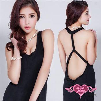 天使霓裳 罩衫 裸背裙襬開叉 泳裝比基尼外搭罩衫(黑M,L)-DK9811