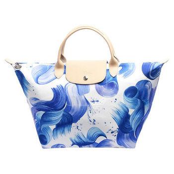 LONGCHAMP SPLASH系列水花圖紋短把棉質帆布水餃包(中-藍莓色)