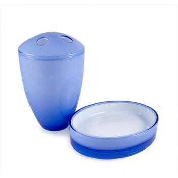 湛藍精緻牙刷架+肥皂架 組