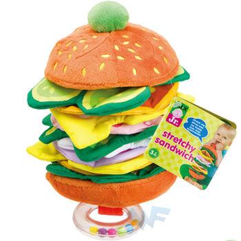 【美國ALEX】嬰幼兒感官認知-伸縮漢堡搖鈴