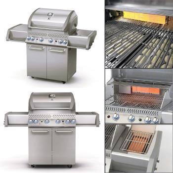 【烤爐行家】4+1+1支不鏽鋼重型燃燒器-高級不鏽鋼戶外瓦斯GAS烤肉爐(限用液化瓦斯)