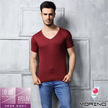 任-【MORINO】速乾涼感短袖V領衫 紅色