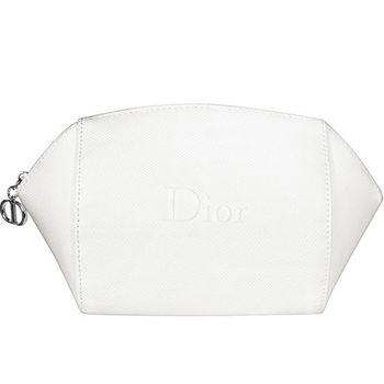 Dior 迪奧 米白浮雕Logo美妝包