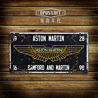 OPUS LOFT純真年代 仿舊鐵皮車牌 - TP-077 Aston Martin
