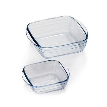 【ADERIA】日本進口方型微波玻璃烤盤2件家庭組