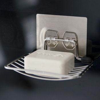 《舒適屋》髮絲紋無痕貼-304不鏽鋼肥皂架