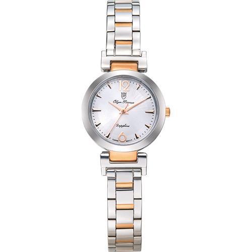Olym Pianus 奧柏表 想樂份子流行簡約腕錶-白X玫瑰金/35mm 5684LSR