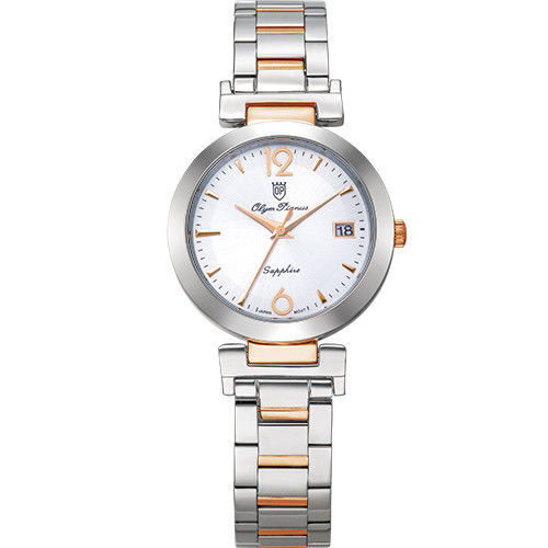 Olym Pianus 奧柏表 想樂份子流行簡約腕錶-白X玫瑰金/35mm 5684MSR