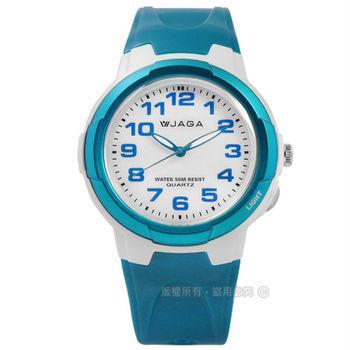 JAGA 捷卡 / AQ68A-DE / 掌握每一刻清晰運動橡膠腕錶 白x藍 38mm