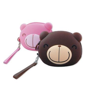 巧克力熊 可愛頭型收納零錢包附腕帶