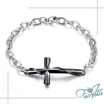 【伊飾童話】真愛十字架*鑲鑽鈦鋼手鍊/男鍊