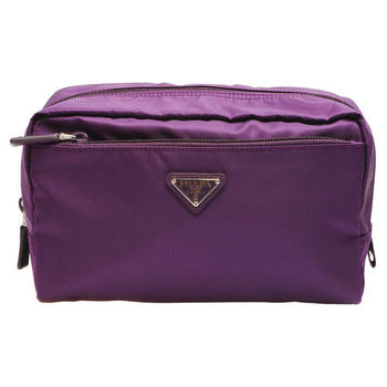 PRADA VELA系列經典三角LOGO牛皮飾邊尼龍萬用收納包(紫)