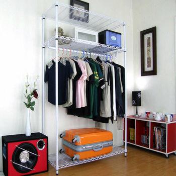 【頂堅】寬90公分-三層金屬鐵線網型(單桿)吊衣櫥/吊衣架-素雅白色