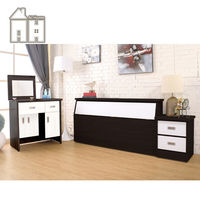 【AT HOME】威尼斯胡桃白雙人臥室三件組(床頭箱+床頭櫃+掀式鏡台)