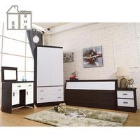 【AT HOME】威尼斯胡桃白雙人臥室四件組(床頭箱+床頭櫃+掀鏡台+衣櫃)