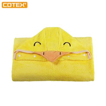 【COTEX】可愛動物大浴巾達可鴨(鵝黃色)- 超越棉質浴巾 更適合台灣高濕度氣候使用