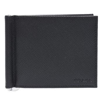 PRADA SAFFIANO系列壓印LOGO牛皮雙折軸釦萬用卡夾/短夾(黑)