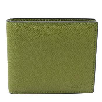 COACH 75096 經典LOGO烙印全皮革附活動夾中短夾.墨綠