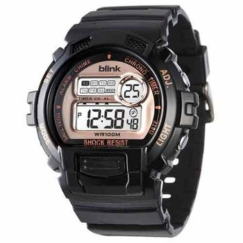 JAGA 捷卡 M886-AL blink 陽光炫麗多功能運動電子錶-黑金
