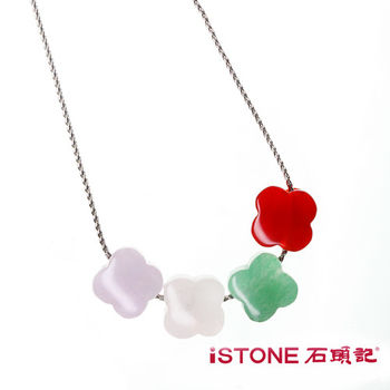 石頭記 水晶白鋼項鍊-四葉幸運草