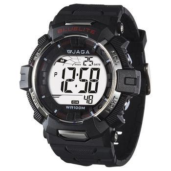 JAGA 捷卡 M979B-A 粗礦豪邁多功能電子錶(黑色)
