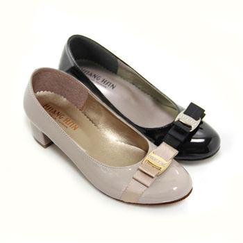 【Pretty】鑽飾雙層法式蝴蝶結中跟娃娃鞋-芋色、黑色