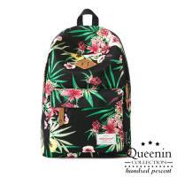 DF Queenin日韓 - 潮流花卉系列百搭款尼龍後背包