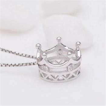 【米蘭精品】925純銀項鍊皇冠吊墜韓風百搭公主風銀飾