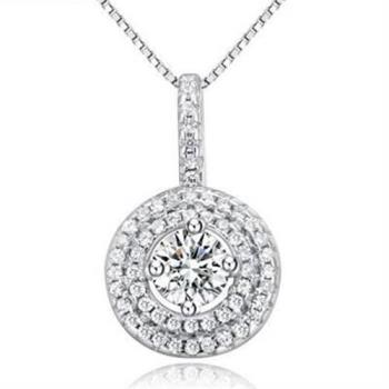 【米蘭精品】925純銀項鍊鑲鑽吊墜時尚高雅鎖骨鍊銀飾
