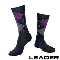 【LEADER】除臭去味 紳士菱格中筒襪(黑底紫格)
