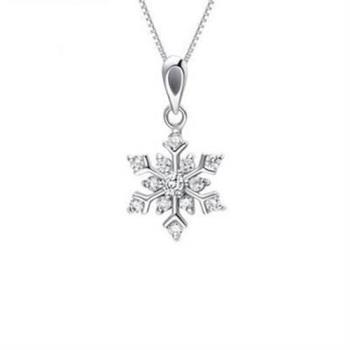 【米蘭精品】925純銀項鍊銀白雪花吊墜氣質奢華百搭銀飾