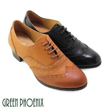 【GREEN PHOENIX】RED ANT_英式風情雕花漸層染色綁帶全真皮低粗跟牛津鞋-棕色、黑色