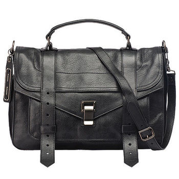 Proenza Schouler PS1Medium Saddle山羊皮斜背包(中-黑)