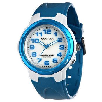 JAGA 捷卡 AQ71A-DE 色彩繽紛夜光防水指針錶-白藍