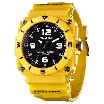 JAGA 捷卡 AQ934-K 運動休閒風指針錶-黃