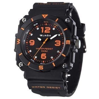 JAGA 捷卡 AQ934-AI 運動休閒風指針錶-黑橙