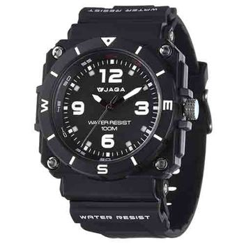 JAGA 捷卡 AQ934-A運動休閒風指針錶-黑
