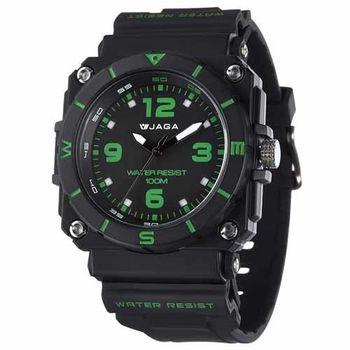 JAGA 捷卡 AQ934-AF 運動休閒風指針錶-黑綠